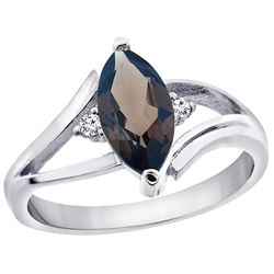 1.24 CTW Quartz & Diamond Ring 14K White Gold - REF-31X2M