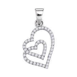 1/4 CTW Womens Round Diamond Double Heart Pendant 10kt White Gold - REF-13M5F