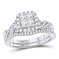 1 CTW Princess Diamond Bridal Wedding Ring Band Set 10kt White Gold - REF-96N2A
