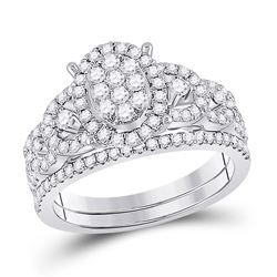 7/8 CTW Round Diamond Bridal Wedding Ring 14kt White Gold - REF-95W5H