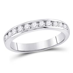 1/2 CTW Womens Round Diamond Single Row Channel-set Wedding Band Ring 14kt White Gold - REF-61M4F