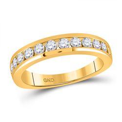 3/4 CTW Womens Round Diamond Wedding Single Row Band Ring 14kt Yellow Gold - REF-74F9W