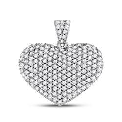 1 CTW Womens Round Diamond Charmed Heart Pendant 14kt White Gold - REF-71X6T