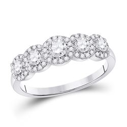 3/4 CTW Round Diamond 5-stone Bridal Wedding Engagement Ring 14kt White Gold - REF-93W3H