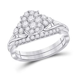 5/8 CTW Round Diamond Bridal Wedding Ring Band Set 10kt White Gold - REF-54N5A