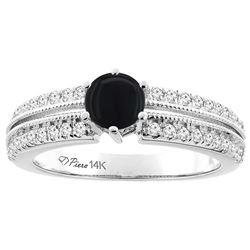 0.90 CTW Onyx & Diamond Ring 14K White Gold - REF-66R4H