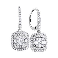 1 CTW Womens Baguette Diamond Square Dangle Earrings 18kt White Gold - REF-218F2W