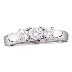 1/2 CTW Round Diamond 3-stone Bridal Wedding Engagement Ring 14kt White Gold - REF-56R6X