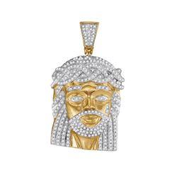 1 CTW Mens Round Diamond Jesus Charm Pendant 10kt Yellow Gold - REF-95H5R