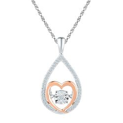 1/8 CTW Womens Round Diamond Moving Twinkle Heart Pendant 10kt Two-tone Gold - REF-17H6R