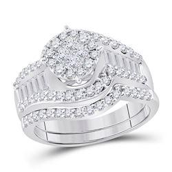 1 & 1/4 CTW Princess Diamond Bridal Wedding Ring 14kt White Gold - REF-139H8R