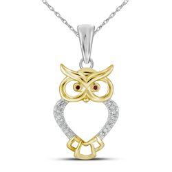 1/20 CTW Womens Round Red Color Enhanced Diamond Owl Bird Animal Pendant 10kt Yellow Gold - REF-12Y2