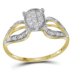 1/10 CTW Womens Round Diamond Oval Cluster Ring 10kt Yellow Gold - REF-10X9T