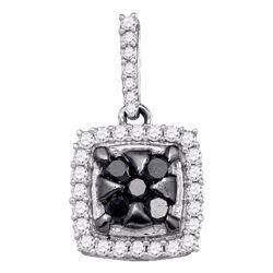 1/2 CTW Womens Round Black Color Enhanced Diamond Square Cluster Pendant 10kt White Gold - REF-23W3H