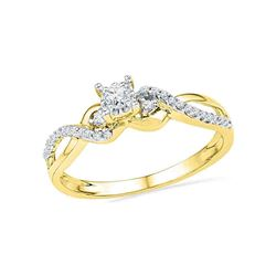1/4 CTW Womens Round Diamond Solitaire Crossover Promise Ring 10kt Yellow Gold - REF-25W9H