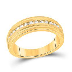 1/2 CTW Mens Round Diamond Wedding Single Row Band Ring 10kt Yellow Gold - REF-68A2M