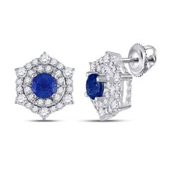 1 & 1/4 CTW Womens Round Blue Sapphire Diamond Halo Earrings 14kt White Gold - REF-81N7A
