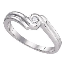 1/20 CTW Womens Round Diamond Solitaire Promise Ring 10kt White Gold - REF-12Y3N