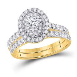 1 CTW Round Diamond Oval Bridal Wedding Ring 10kt Yellow Gold - REF-98F9W
