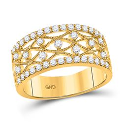 5/8 CTW Womens Round Diamond Band Ring 14kt Yellow Gold - REF-64X2T