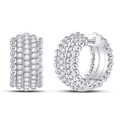 3/4 CTW Womens Round Diamond Huggie Earrings 14kt White Gold - REF-95H5R
