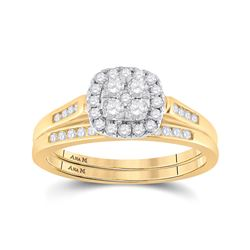1/2 CTW Round Diamond Cluster Bridal Wedding Ring 14kt Yellow Gold - REF-64X8T