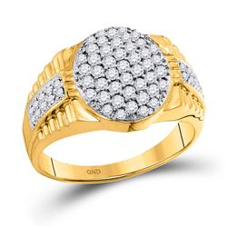 1 CTW Mens Round Diamond Oval Cluster Ring 10kt Yellow Gold - REF-56H6R