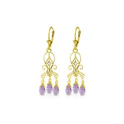 Genuine 4.81 ctw Amethyst & Diamond Earrings 14KT Yellow Gold - REF-46K7V