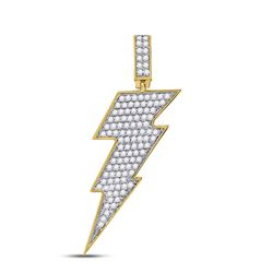 1 CTW Mens Round Diamond Lightning Bolt Charm Pendant 10kt Yellow Gold - REF-71R6X