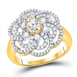 1 CTW Womens Round Diamond Flower Solitaire Fashion Ring 10kt Yellow Gold - REF-136X4T