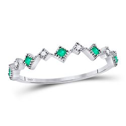 1/5 CTW Womens Round Emerald Diamond Square Stackable Band Ring 10kt White Gold - REF-12A2M