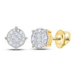 2 CTW Womens Princess Round Diamond Cluster Earrings 14kt Yellow Gold - REF-194R4X
