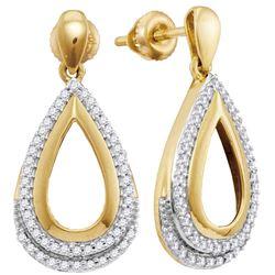 1/4 CTW Womens Round Diamond Teardrop Dangle Earrings 10kt Yellow Gold - REF-25A9M