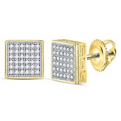 1/5 CTW Mens Round Diamond Square Cluster Stud Earrings 10kt Yellow Gold - REF-27X3T