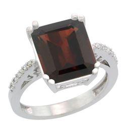5.52 CTW Garnet & Diamond Ring 10K White Gold - REF-46N3Y