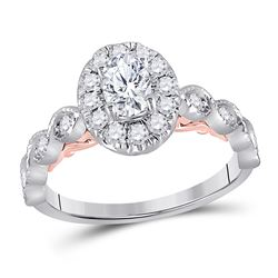 3/4 CTW Oval Diamond Solitaire Bridal Wedding Engagement Ring 14kt Two-tone Gold - REF-111X2T