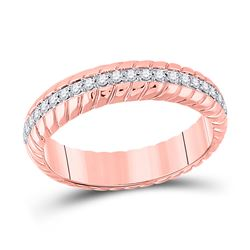 1/5 CTW Womens Round Diamond Patterned Anniversary Ring 14kt Rose Gold - REF-34H3R