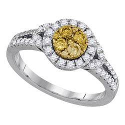 5/8 CTW Womens Round Natural Canary Yellow Diamond Cluster Ring 14kt White Gold - REF-76T9V