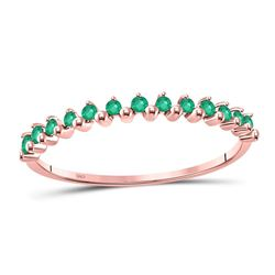 1/8 CTW Womens Round Emerald Stackable Band Ring 10kt Rose Gold - REF-8F3W