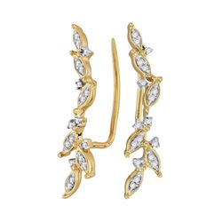 1/5 CTW Womens Round Diamond Climber Earrings 10kt Yellow Gold - REF-17Y3N