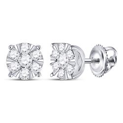 1/2 CTW Womens Round Diamond Fashion Cluster Earrings 14kt White Gold - REF-46H3R