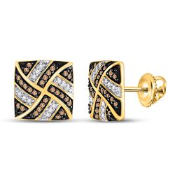 1/4 CTW Womens Round Brown Diamond Square Pinwheel Earrings 10kt Yellow Gold - REF-20W5H