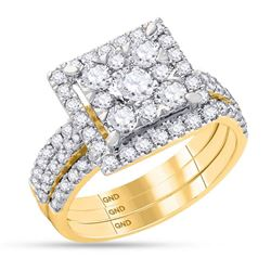 2 CTW Round Diamond Square Bridal Wedding Ring 14kt Yellow Gold - REF-235V3Y