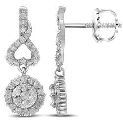 1 CTW Womens Round Diamond Cluster Dangle Earrings 14kt White Gold - REF-88X5T