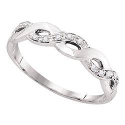 1/12 CTW Womens Round Diamond Woven Twist Band Ring 10kt White Gold - REF-14H2R