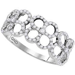 1/3 CTW Womens Round Diamond Quatrefoil Circle Band Ring 10kt White Gold - REF-28T2V