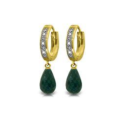 Genuine 6.64 ctw Green Sapphire Corundum & Diamond Earrings 14KT Yellow Gold - REF-50P2H