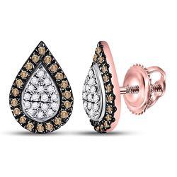 1/5 CTW Womens Round Brown Diamond Teardrop Cluster Earrings 10kt Rose Gold - REF-16N4A
