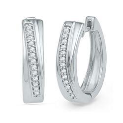 1/6 CTW Womens Round Diamond Single Row Hoop Earrings 10kt White Gold - REF-27V3Y