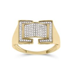 1/4 CTW Mens Round Diamond Arched Fashion Ring 10kt Yellow Gold - REF-40R8X